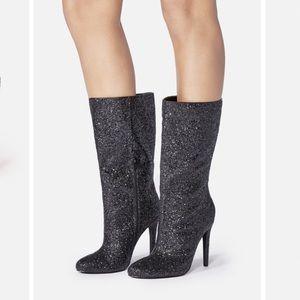 JUST FAB | Sparkle Black Stiletto Boot
